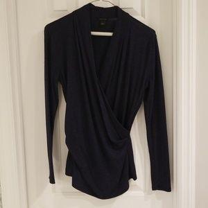 Ann Taylor Blue Wrap Shirt Small